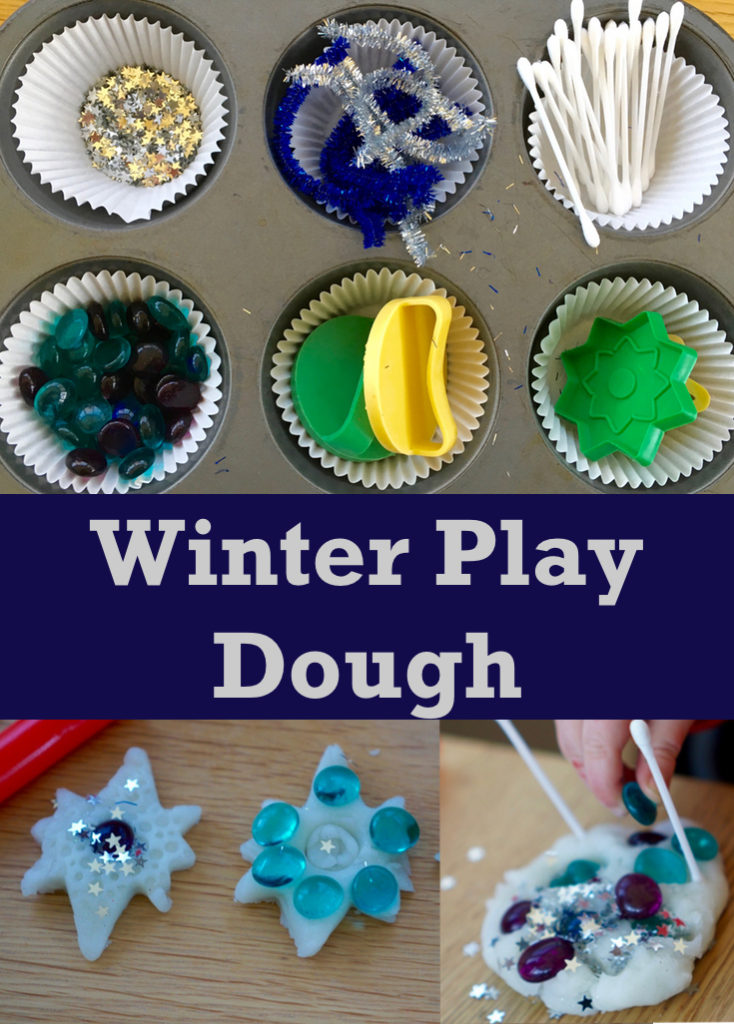 This is a simple winter play dough invitation to play with white play dough and sparkles. It's suitable for all ages and great for learning and development.