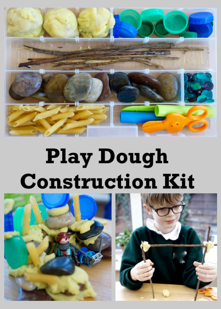 Construction themed play dough set. Simple to set up with basic household equipment. Great for toddlers, preschoolers and older children. Good for STEM challenges.