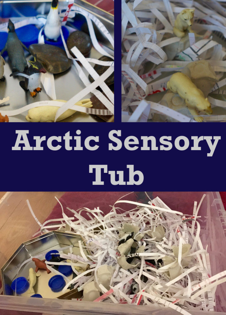 Arctic Animal sensory tub. This is easy to set up and fun sensory educational play for toddlers, pre-schoolers and beyond
