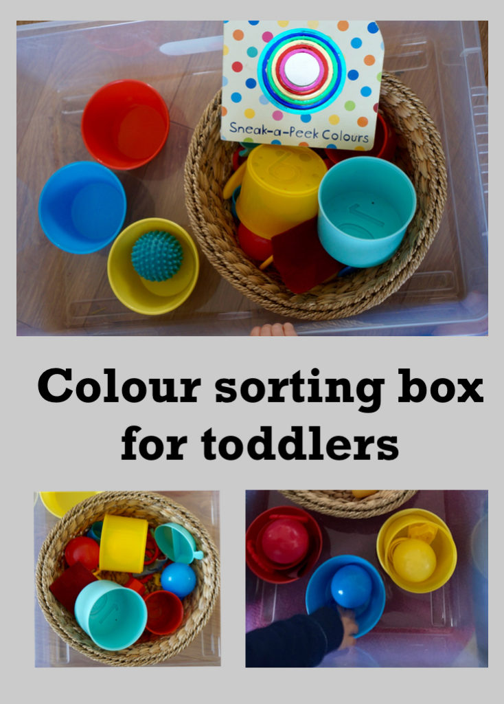 Colour sorting box for toddlers. It uses toys and things to have around the house to develop understanding and language in a fun way.