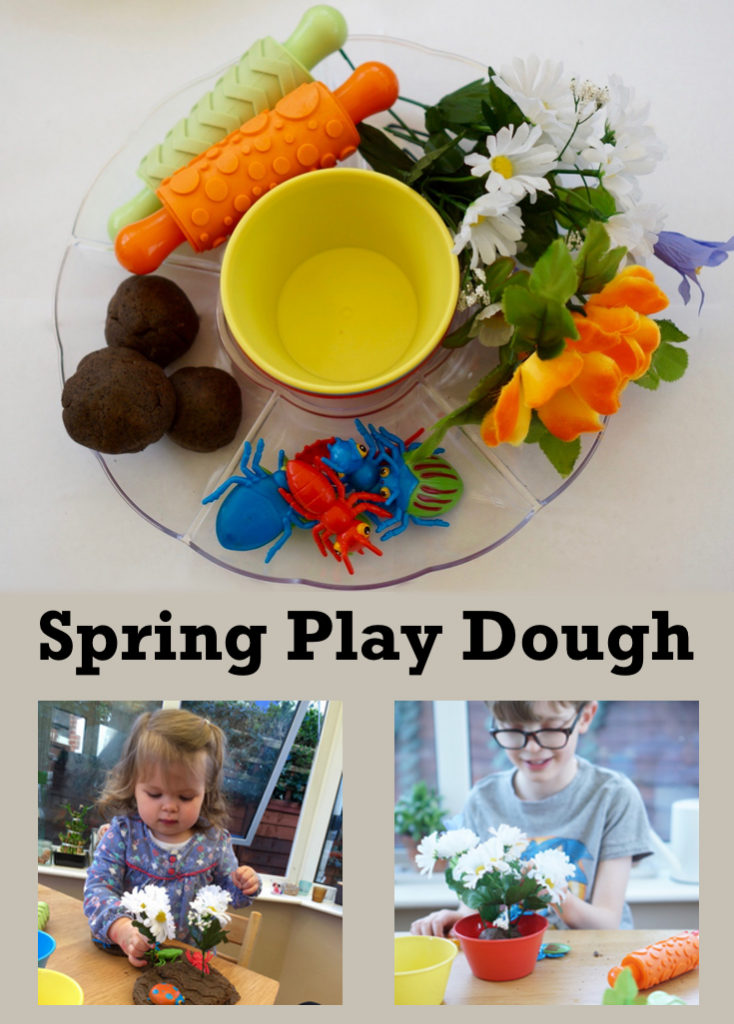 Spring play dough. This is a great invitation to play for toddlers, preschoolers and beyond. It's a good steam homeschool activity giving opportunities to talk about the changes of the season.